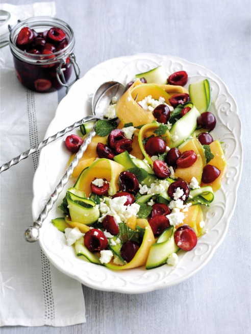 Summer salad with feta and pickled cherries