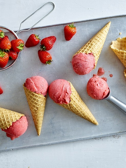 Healthier strawberry ice cream