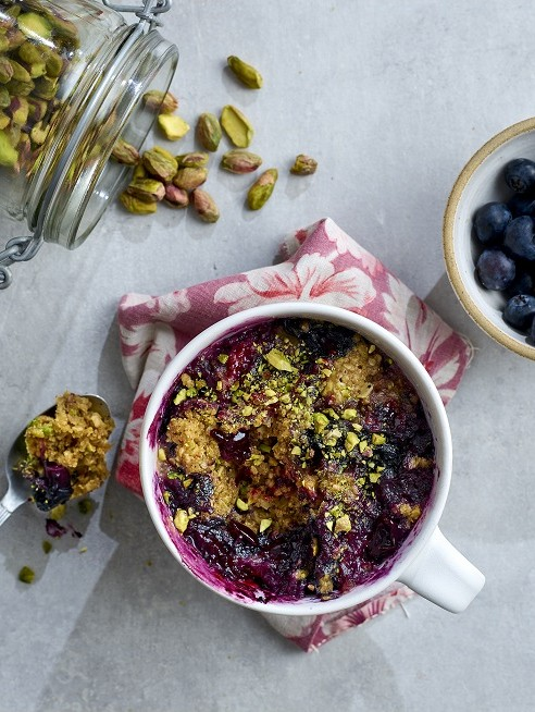 Blueberry and Pistachio Mug Cake