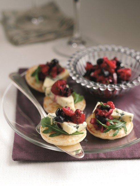 Stilton canapes with blueberry and raspberry salsa